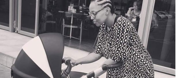Pabi Moloi gives birth to her son